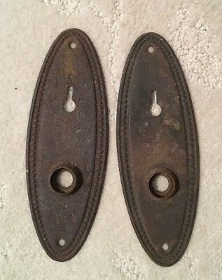 2 Antique Vintage Primitive Shabby Door Knob Lock Key Hole Plate Parts
