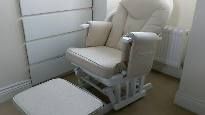 Reclining Glider Nursing Chair with Footstool white, with Beige Cushion