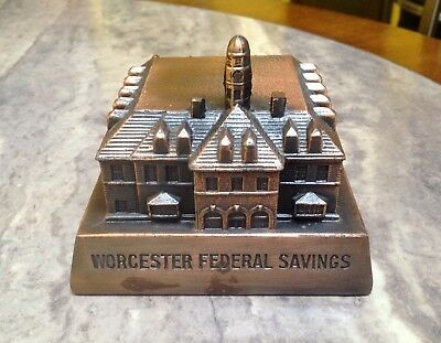 Still Bank~Worcester Federal Bank Springfield MA~Bronzed White Metal~Has Key~NR
