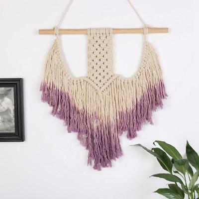 Handmade Bohemian Macrame Cotton Rope Wall Hanging Purple Natural Home Decor