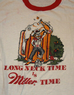 Vtg 70s MILLER Long Neck Time Is Miller Time RINGER T-SHIRT Beer Ad Screen Stars