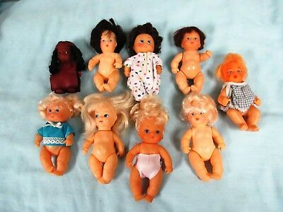 Big Lot of Nine Small Dolls,Each About 4 1/2 Inches Tall