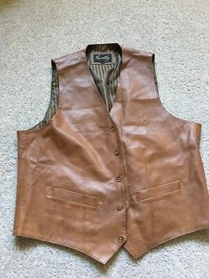 Scully Chocolate Brown Leather Vest 3-Pockets 5-Buttons Size 44 VIntage