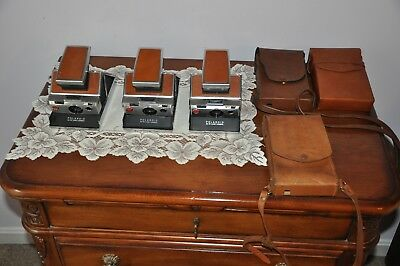 3 Vintage Polaroid Sx-70 Land Cameras With 3 Cases Untested Sold As Is