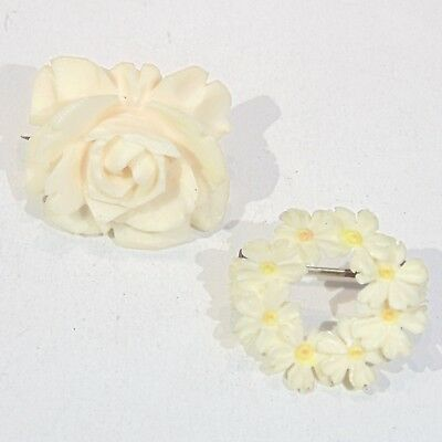 Lot of 2 Antique hand carved bovine bone floral pins brooches rose daisy chain