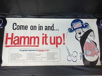 """Vintage Hamm's Bear Advertising Beer Poster Come on in and...Hamm it Up! 21""""X42"""""""
