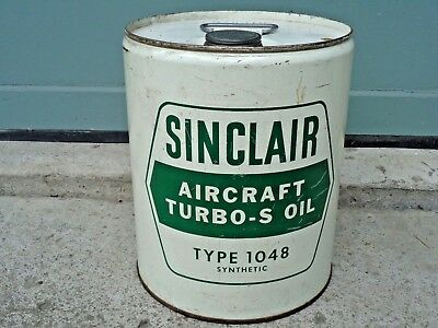 Vintage HTF RARE Sinclair AIRCRAFT Turbo-S Oil 5 Gal Type 1048 Synthetic NY