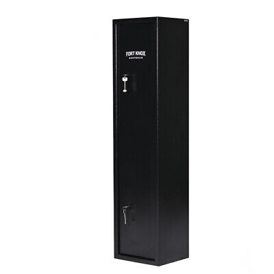 6 Gun Safe Firearm Rifle Storage Lock Box Steel Cabinet Fort Knox Military Black