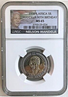 2008 South Africa 5 Rand Nelson Mandela, 90th Birthday NGC MS65 -*FREE SHIPPING*