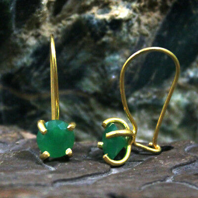 Roman Art Handmade Emerald Earring 925k Sterling Silver Turkish Design Gemstone