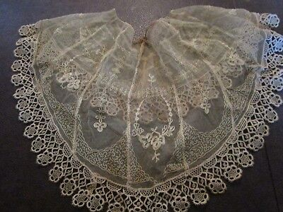 Antique VICTORIAN EDWARDIAN EMBROIDERED Tambour Fine Net LACE COLLAR Dress