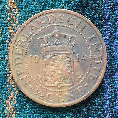 Netherlands East Indies Indonesia 1/2 Cent 1914 - VF, 1st Year