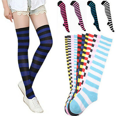 Striped Over the Knee Thigh High Stocking Long Socks for Women Girls Leg Warmers