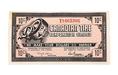 Vintage 1960's 10 Cents Canadian Tire Banknote Nice