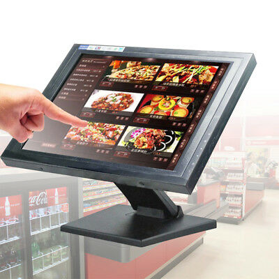 "15"" Touch Screen USB LCD Monitor POS Stand Kiosk Restaurant Cafe Bar Retail <30W"
