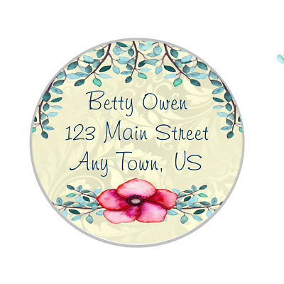 30 Personalized Address Labels - Round Floral Damask PinkCustom Designs