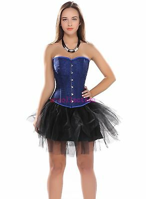 Blue Lace Up Boned Corset Overbust Bustier Lingerie with Tutu Skirts