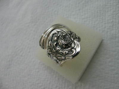Sterling Silver spoon RING s 8.5 ROSE Floral Flower Jewelry # 6262