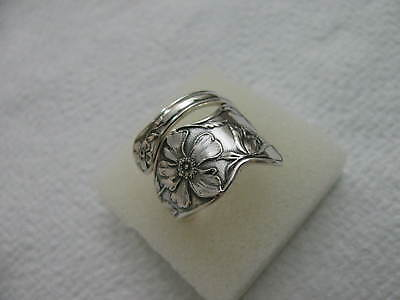 Sterling Silver spoon RING s 7 1/4 WILD ROSE Floral Flower Jewelry # 6261
