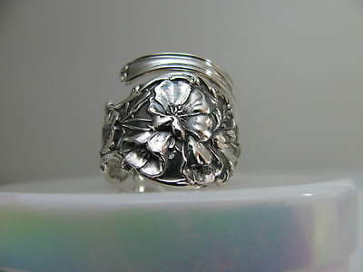 Sterling Silver spoon RING s 7.5 POPPY Jewelry Floral Flower # 6266