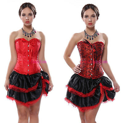 Wedding Embroidered Corset Bustier with Red skirts
