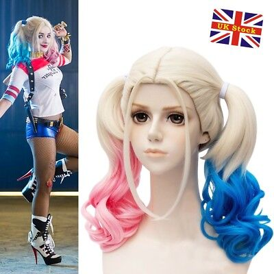Harley Quinn Wig Pink-Blue Batman Suicide Squad Halloween Cosplay Party Wig UK