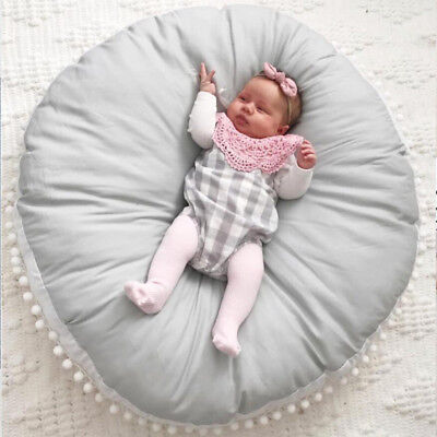 Baby Infant Crawl Area Rug Kids Game Play Mat Soft Cotton Grey Cushion Lounger