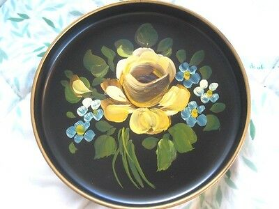 Hand Painted Yellow Roses & Violets Vintage Chic Tole Dresser Jewelry Pin Tray
