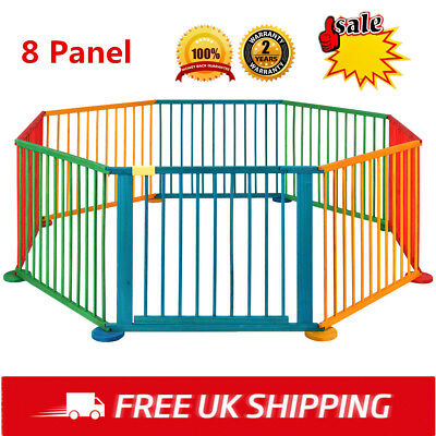 8 Panel Foldable Wooden Color Baby Child Playpen Portable Play Yard Fence Safety