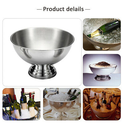 Bowl-shaped Stainless Steel Ice Metal Bar Beer Barrel Champagne Wine Big Bucket