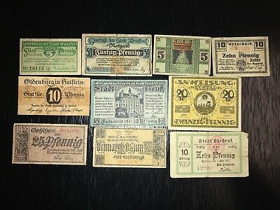 Lot of 10 old banknotes/Notgeld from Germany