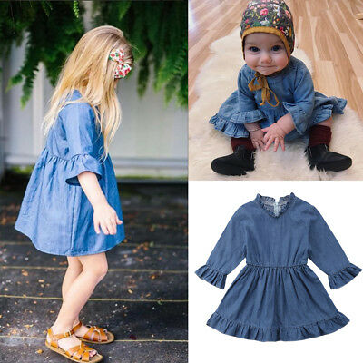 Kids Baby Girls Long Sleeve Princess Dress Outfit Denim Party Sundress Clothes
