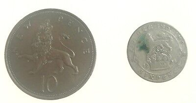 Lot of 2 Great Britain United Kingdom coins 1924 Sixpence 1969 10 Pence Nr. 9059