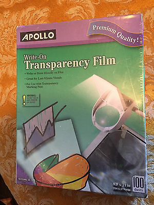 New  Box APOLLO WO100C-B Write-On TRANSPARENCY FILM 100 sheets Clear 8.5 x 11