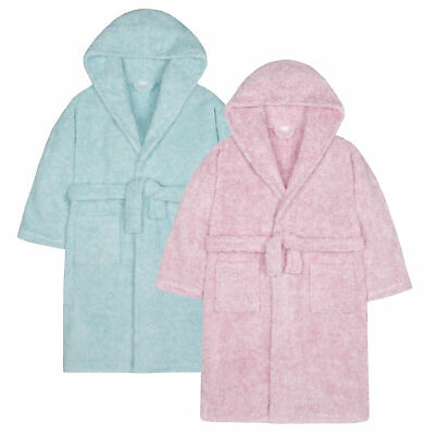 Girls Two Tone Dressing Gown Robe Soft Snuggle Fleece Hooded Fluffy Warm Pockets