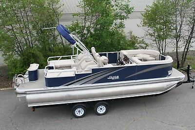 2485 Tmltz Rear Lounge Cruise tritoon pontoon boat with 150 and trailer
