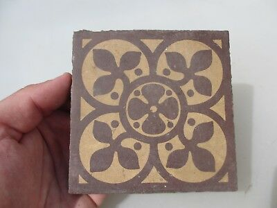 Victorian Ceramic Floor Tile Antique Terracotta 1800's Old Pugin Floral Leaf 4""