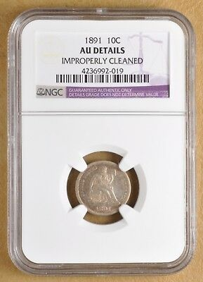 1891 Seated Liberty Dime NGC AU Details