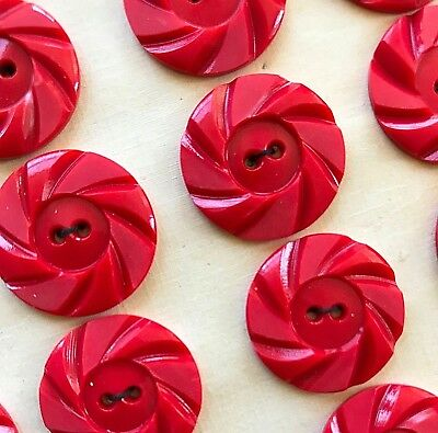 "Vintage Buttons - 1930's 24 Red Casein 2-Hole 7/8"" Wheel Buttons"