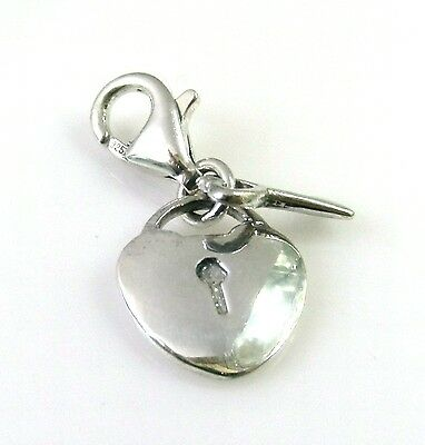 Handmade 925 SOLID Sterling Silver Two Part Heart Padlock with Key Charm