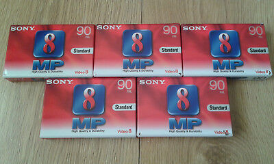 5 x Sony P5-90MP3 Video 8 Camcorder Tapes / Cassettes - New & Sealed