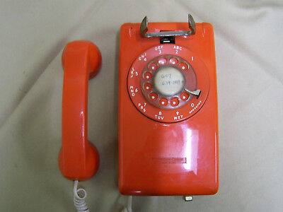 Vintage ORANGE 70s Stromberg Carlson Telephone Wall Mount Rotary Dial  NOT WORK