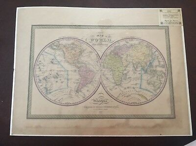 """Antique Original 1851 """"A New Map of The World"""" by Thomas Cowperthwait & Co."""