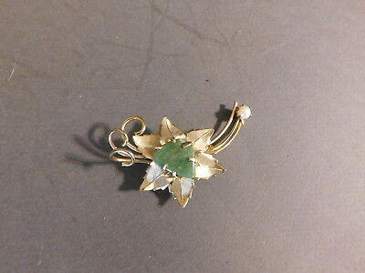 Vintage Goldtone Leaf Pin Brooch With Green Stone And Faux Pearl Accent