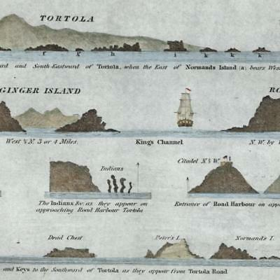 Caribbean Tortola Virgin Gorda Ginger Is Blunt 1847 small old nautical chart map