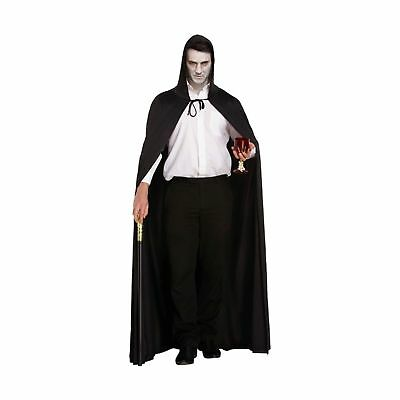 Dracula Vampire Hooded Cape Black Halloween Fancy Dress Costume Accessory