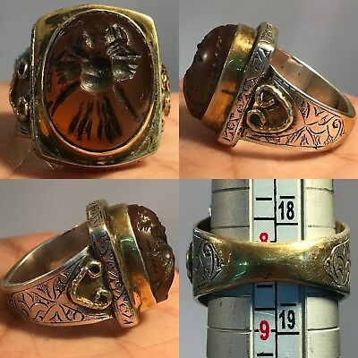 Silver Rare Wonderful Ring Ancient Rare Agate 2 faces Falcon intaglio Stone ring