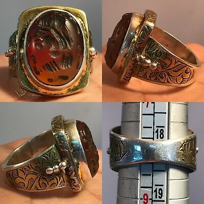 Silver Intaglio Antique Stone King Face Agate Stone Old Ring 14Gr