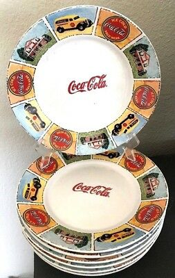"Gibson Lot Of 7 Coca Cola 8 3/4"" Plates Good Ole Days"