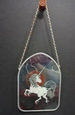 """Vintage 70's Groovy Unicorn Stained Glass Sun Catcher w/ Chain  8"""" Tall A1"""